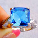 925 sterling silver Blue Topaz Crystal Stone Women Bridal Ring Size 7