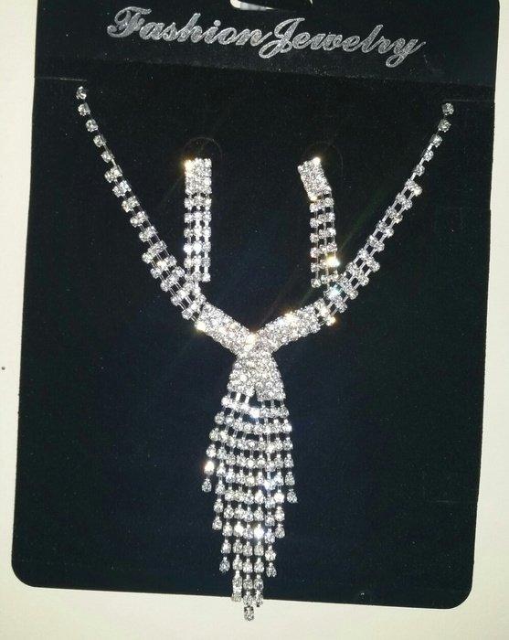 Shine Rhinestone Bridal Weeding Party Prom Necklace Earrings Set