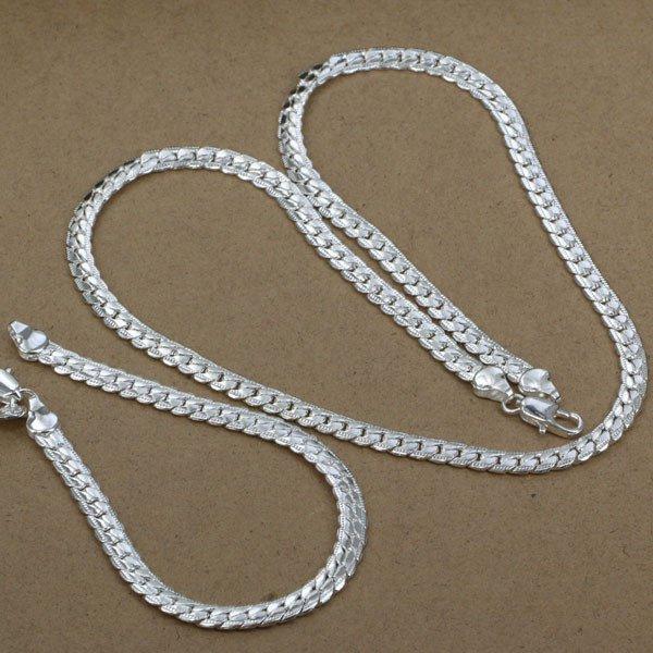 925 sterling silver 5mm unisex Snake Long Chain & Bracelet set