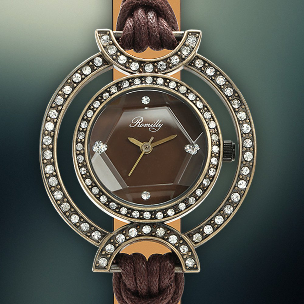 Romily Reef Knot Ladies Authentic Watch - Brown Strap, Bronze Case, Brown Dial