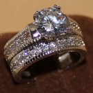 925 Sterling Silver White Sapphire Wedding Engagement 2 in 1 Ring Set Size 7