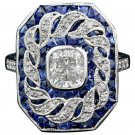 14k White Gold Plated Sapphire and Topaz Stone Women Party Ring Size US 7,8