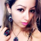 925 silver over gold plated Indian Multi Stone Necklace Earring Ring Set