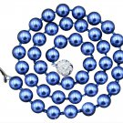 "Blue 8mm South Sea Shell Pearl 18"" Necklace"