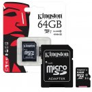 Kingston 64GB MicroSD SDXC Class10 Memory Card with Adapter