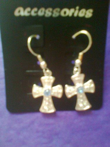 Engraved cross earings