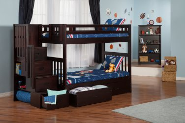 Cascade Twin over Twin Staircase Bunk Bed with Drawers by Atlantic