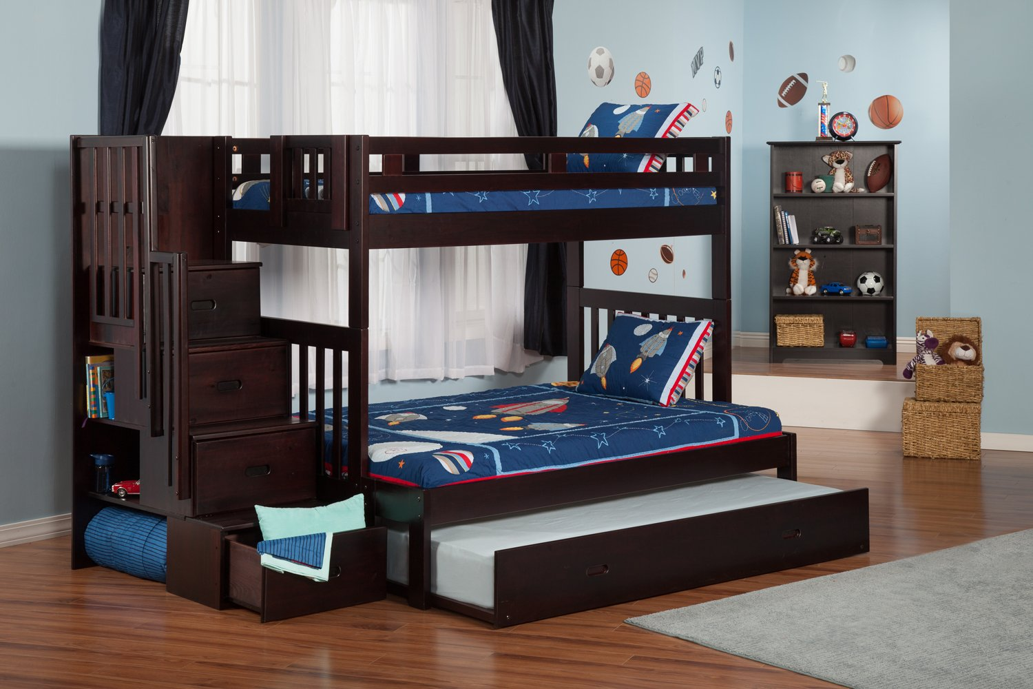 Cascade Twin Over Full Staircase Bunk Bed With Trundle By