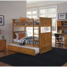 Nantucket Twin over Twin Bunk Bed with Raised Panel Trundle in Caramel Latte by Atlantic