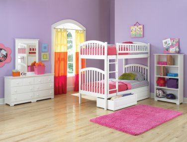 Richmond Twin over Twin White Bunk Bed with Raised Panel Drawers by Atlantic