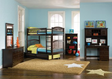 Richmond Twin over Twin Antique Walnut Bunk Bed with Raised Panel Trundle by Atlantic
