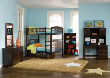 Richmond Twin over Twin Antique Walnut Bunk Bed with Raised Panel Drawers by Atlantic