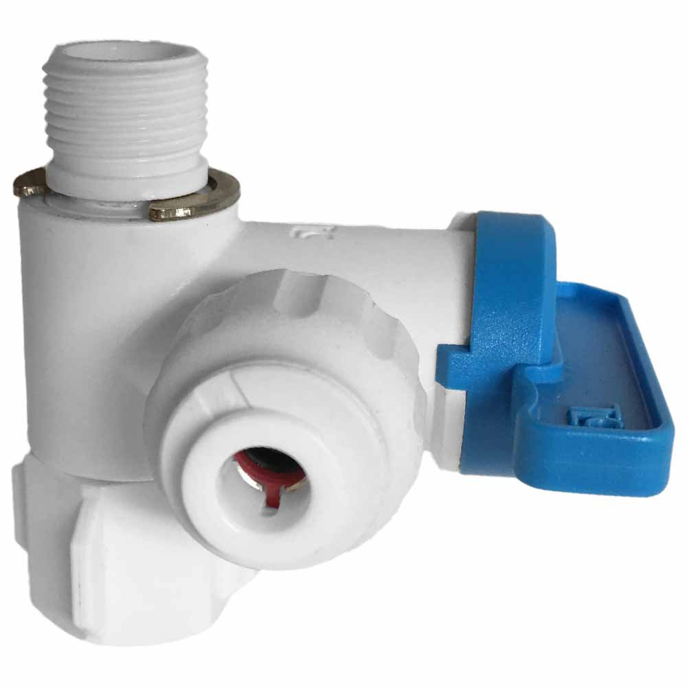 """3/8"""""""" Angle Stop Feedwater Ball Valve w/ 1/4"""""""" QC"""
