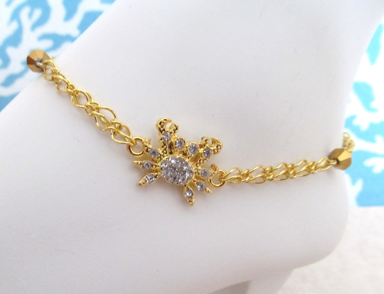 Anklet Rhinestone Sea Crab Goldplated, Tropical Anklet, Sea Life Anklet