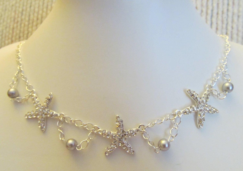 Starfish Necklace, Silver Rhinestone Trio Starfish Necklace, Wedding Necklace, Statement Necklace