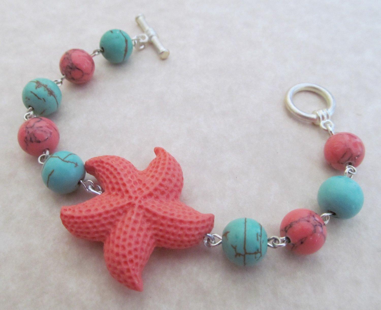 Starfish Bracelet Turquoise & Coral Beaded, Sea Shell Bracelet, Beach Bracelet