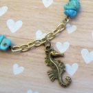 Brass & Turquoise Sea Horse Necklace, Beach Necklace, Turquoise Necklace, Ladies Tropical Necklace