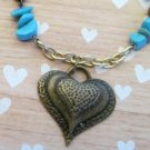 Brass Heart Pendant and Turquoise Chip Necklace, Turquoise Necklace, Ladies Beach Necklace