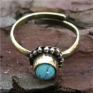 Brass Toe Ring With Turquoise - Upper Finger Ring - Brass Above Knuckle Ring