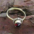 Brass Toe Ring With Red Garnet - Brass Above Knuckle Ring - Adjusable Brass Ring