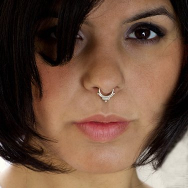 Ornamented Silver Septum For Non Pierced Nose Indian Nose Ring Tribal Septum Nose Cuff