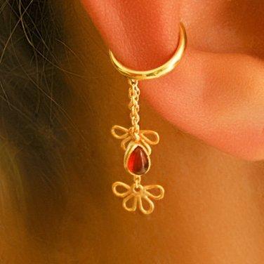 Gold Ear Cuff - Ear Wrap - Wrap Earrings - Gemstone Earrings - Onyx Ear Cuff