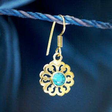 Brass Earrings - Brass Flower Earrings - Tribal Jewelry - Gemstone Jewelry - Turquoise Jewelry