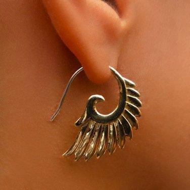 Brass Earrings - Wing Earrings - Tribal Jewelry - Wings Jewelry - Brass Jewelry
