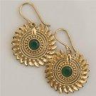 Brass Earrings - Brass Flower Earrings - Ethnic Earrings - Gemstone Jewelry - Onyx Jewelry