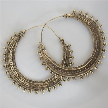 Brass Earrings - Brass Hoops - Ethnic Hoops - Gypsy Hoops - Hoops Jewelry - Brass Jewelry
