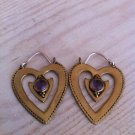 Beautiful Heart Gemstone Brass Earrings - Tribal Jewelry - Love Earrings - Brass Jewelry