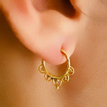 Beautiful Gold Plated Earrings - cartilage jewelry - Septum Earring - Indian Tragus Jewelry