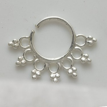 Ornamented Silver Earrings - cartilage jewelry - Septum Earring - Indian Tragus Jewelry