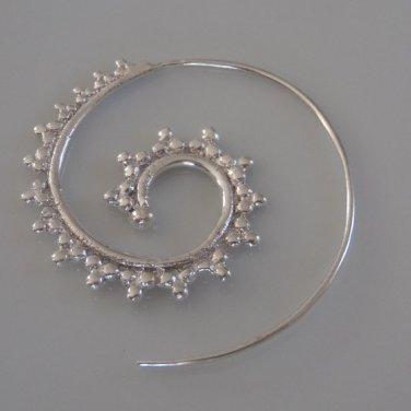 Silver Earrings - Spiral Earrings - Gypsy Earrings - Tribal Jewelry - Silver Jewelry