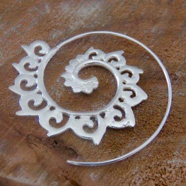 Silver Earrings - Silver Spiral Earrings - Gypsy Earrings - Ethnic Earrings - Silver Jewelry