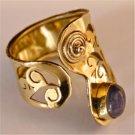 Adjustable Brass And Labradorite Ring - Tribal Jewelry - Ethnic Jewelry - Native American Jewelry