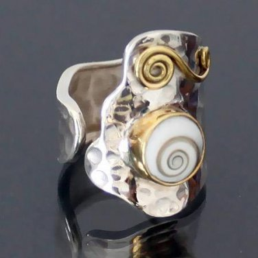 Decorated Silver And Shiva Eye Ring - Tribal Jewelry - Ethnic Jewelry - Gemstone Jewelry