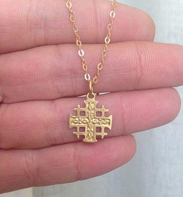 Jerusalem Cross - Gold - Silver Cross Pendant - Tiny Charm - Simple Cross