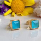 Blue Chalcedony Gemstone Gold Stud Earrings