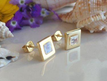 Genuine Rainbow Moonstone Gold Stud Earrings