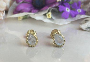Genuine Rainbow Moonstone June Birthstone Gold Stud Earrings
