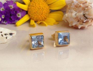 Blue Topaz December Birthstone Gold  Stud Earrings