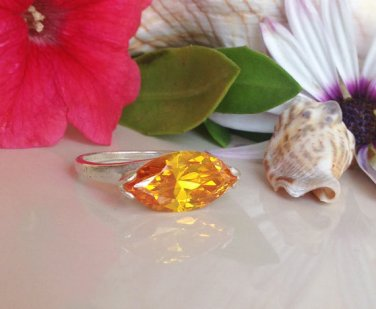 Citrine Ring - November Birthstone - Silver Ring - Yellow ring