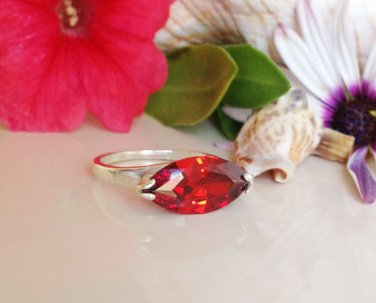 Garnet Ring - January Birthstone - Silver Ring - Promise Ring
