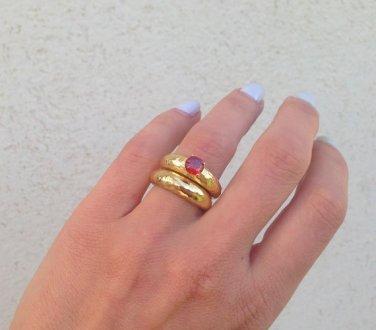 Set of 2 Rings - Hammered Rings - Gemstone Ring - Birthstone Ring
