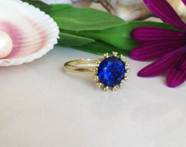 Sapphire Ring - Royal Blue Ring - Navy Blue Sapphire - Gold Blue Ring