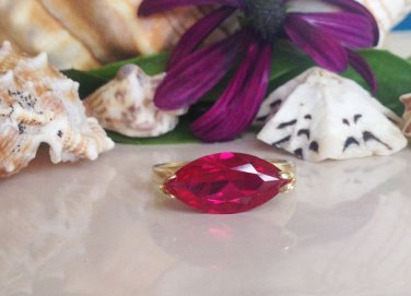 Ruby Ring - July Birthstone - Pink Fuchsia Ring - Gold Ring - Coctail Ring