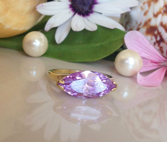 Lavender Amethyst Ring - Gold Ring - June Birthstone - Gemstone ring