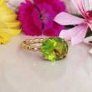 Peridot Ring - August Birthstone - Gemstone Ring - Light Green Stone - Gold Ring