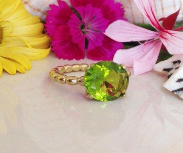 Peridot Ring - August Birthstone - Gemstone Ring - Light Green Stone - Gold Ring